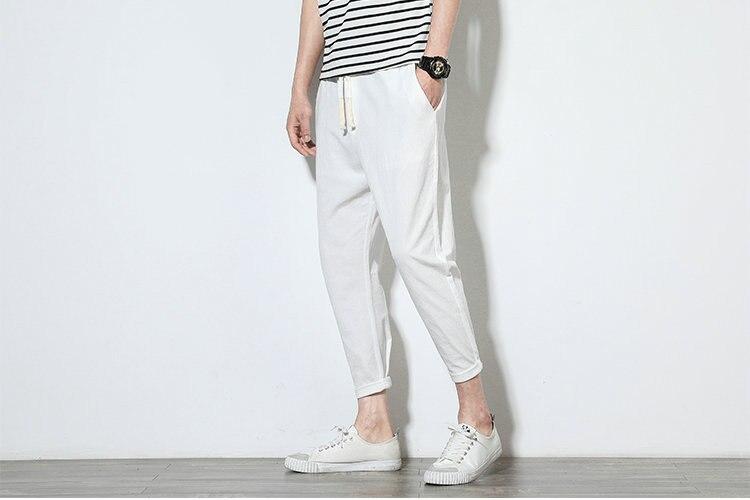 Cotton Linen Joggers White Men's Harem Pants 5