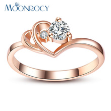 MOONROCY Free Shipping Jewelry Cubic Zirconia Rose Gold Color Wedding Austrian Crystal Rings Fashion Heart Ring for Women Gift
