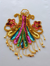 Sequin headwear embroidery patches paillette Fringe applique flower 1-*13cm
