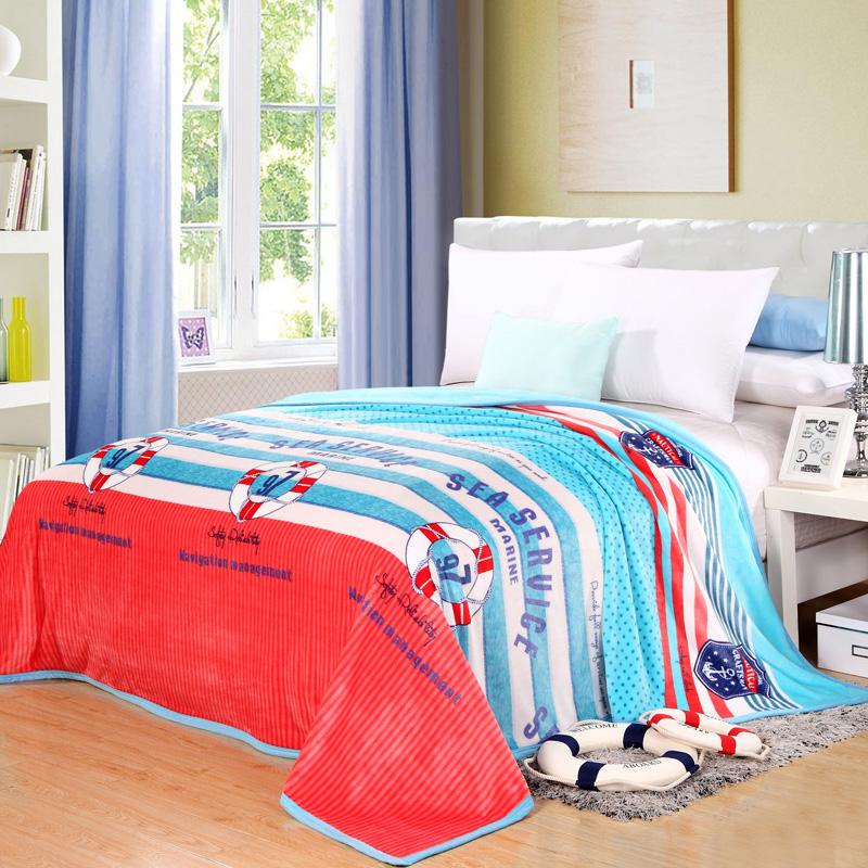 "Cozzy 2016 New Stripes & Dots ""Sea Service"" Plush Velvet Blanket on Bed Sofa Travel Blue Red 120x200 150x200 180x200 200x230cm(China (Mainland))"