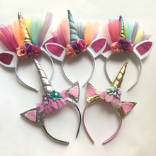 10 PCS Glitter Unicorn Horns Headbands for Girls and Kids 2017 Felt Padded Unicorn Headband Hair Accessories DIY Unicorn Party(China)