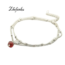 2016 Trendy Charming Jewelry Red Crystal Bead Shiny Swan Double Anklet Color Silver Color Drop Shipping(China)