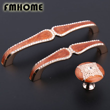 "96mm 128mm european fashion glass crystal kitchen cabinet wine cabiner door handles amber red drawer tv table knobs pulls 5""(China)"