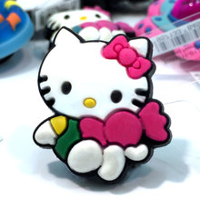 1pcs High Quality Hello Kitty Hot Cartoon Shoe Charms Accessories Party Home Decoretion Kids Children Gift Fashion(China)