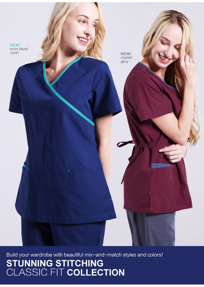 Professional Medical Women Scrub Tops and Pants Sets Dental Clinic Workwear Clothes SPA Beauty Salon Overalls with Back Ties