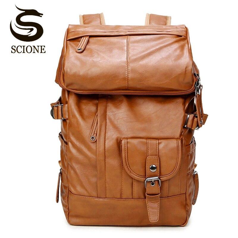 Laptop Backpack Men Shoulder Bag PU Leather Travel Backpack School Male Bags Large Capacity Backpacks Notebook Rucksack Black<br>