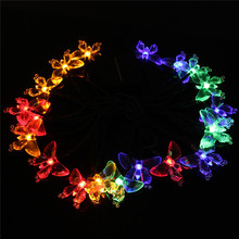Mising Multicolor 4.8M LED Solar Light Butterfly Shaped Solar Powered 20 LED String Light Christmas Wedding Decor(China)