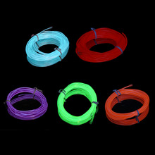 4m Flexible EL Wire Tube Rope Neon Light Glow Controller Car Party Bar Decor green / purple/ ice blue / red / orange color(China)