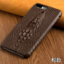 For HTC J Butterfly Droid DNA X920e Top Cowhide Genuine Leather Rear Cover 3D Crocodile Head Texture Moblie Phone Back Case