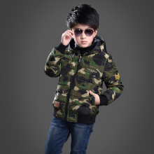New Winter Jacket Kids Boys Print Hooded Thickness Boys Coat Manteau Garcon Hiver Children's Winter Jackets 6BBT031(China)