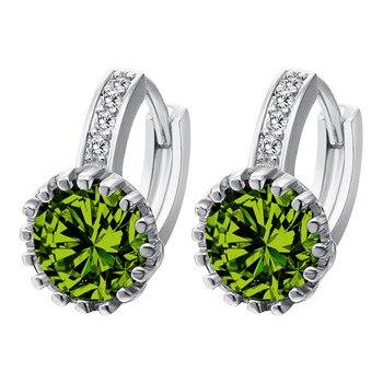 New! 1Pair Sweet Gift Romantic Hoop Earrings Real Platinum Plated AAA Cubic Zirconia Ladies Earrings For Wedding Party