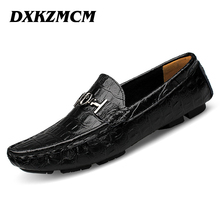 DXKZMCM 2017 Genuine leather Mens Loafers Handmade Moccasins Leather Men Flats Blue Slip On Men's Boat Shoe(China)