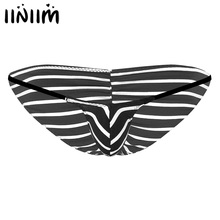 Buy Mens Lingerie Sissy Panties Gay Tanga Men Stripes sexy homme Bulge Pouch Stretchy jock strap Male Mini Bikini Sexy Underwear