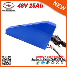 Triangle Type Electric Bike Battery 48V Lithium Battery Packs 48V 25Ah Li Ion Battery used in 50A BMS for 2400W Motor