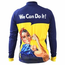 2016 new cartoon we can do it cycling jersey jersey sleeve blue funny cycling shirt yellow bike wear long Sleeve cycling jersey