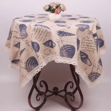 Beige Thick Tough Cotton Linen Square Rectangular Dustproof Tablecloth Mediterranean Sea Shells Party Table Cover