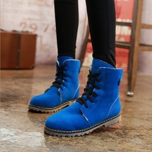 2017 New winter boots students big yards for women's shoes winter blue boots 34 - 43 Martin boots