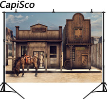Capisco Old US Wild Western Scenery Horse Bank Cowboy Saloon Scenery Children  Photography Background vinyl Backdrop Photo Studio 6052111970cf