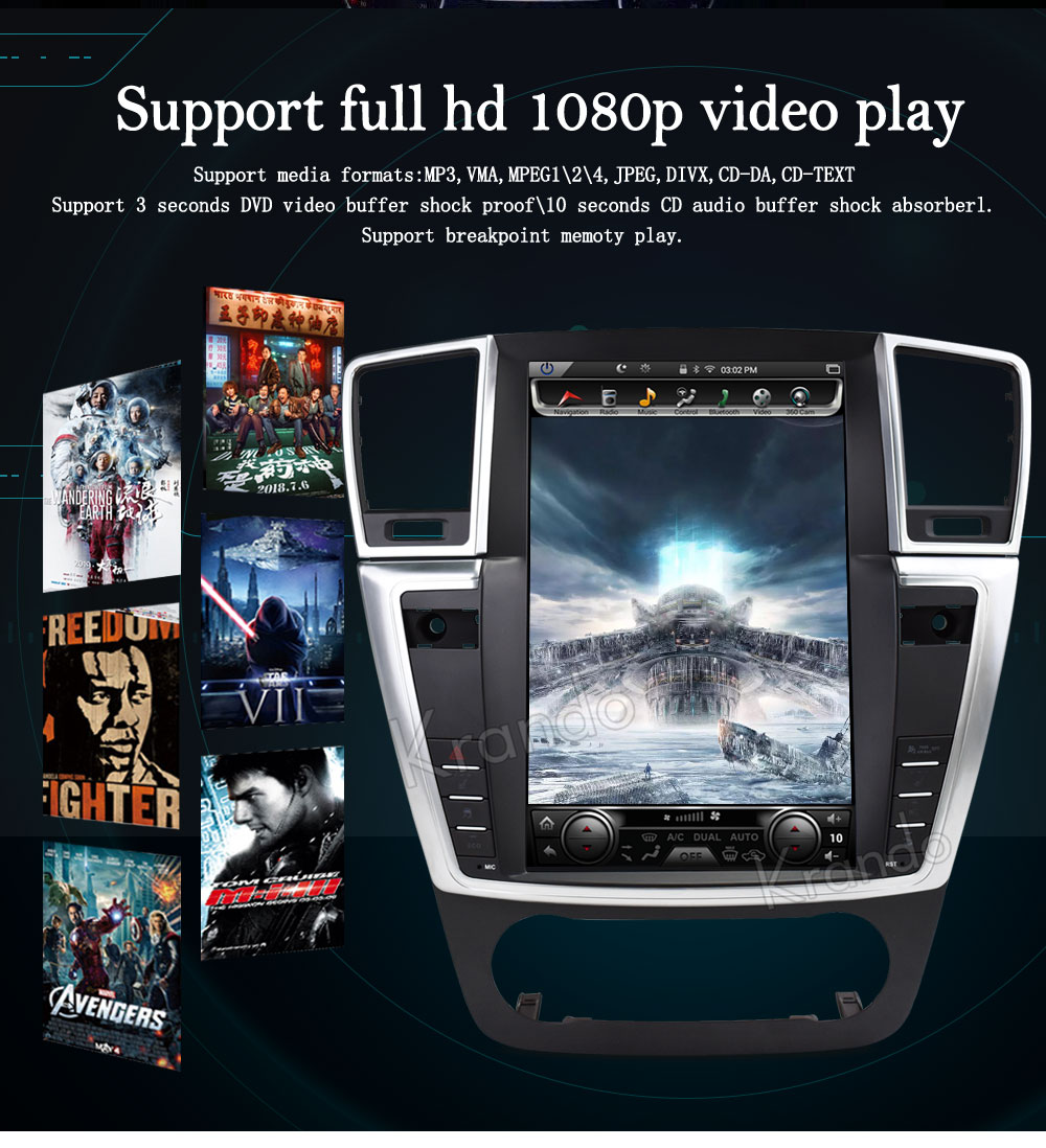 Krando Vertical screen android car dvd for BENZ ML 2013-2015 screen navigation with gps system