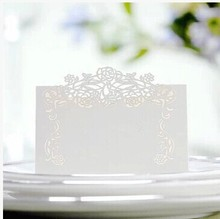 Free Shipping 10X Pieces White Vintage Flower Laser Cut Paper Crafts Desk card place card Wedding Invites Favor Decoration