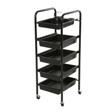 5 Layers Storage Cart Hairdressing Trolley Omni-directional Wheel Hair Rolling Cart Pro Barber Hairdresser Trolley Storage Tool(China)