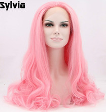 Sylvia Pink Hair Wigs Long Wavy Synthetic Lace Front Wigs For Women Heat Resistant Fiber