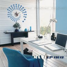 1x Wholesale Large Blue Dot DIY Home Decor Frameless Wall Clock Vinyl Sticker Design Decal 10A014 MAX3 Brand Room Decors