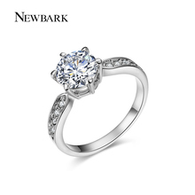 NEWBARK Round Ring Engagement Rings 6 Prongs Setting Cubic Zirconia Anel Jewelry For Women Love Bague Anillos Mujer Gift