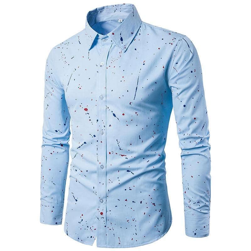 18 Print Men Casual Dress Shirts Long Sleeve Clothes Male Camisa Hombre Square Collar Blouse Plus Size 3XL 6
