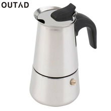 OUTAD 100ML 200ML 300ML Stainless Steel Moka Coffee Maker Mocha Espresso Latte Stovetop Filter Coffee Pot Percolator Tools