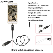 JCWHCAM 8mm Hd 720P USB Android Endoscope 1M Cable OTG PC Endoscopio Mini Endoscope Camera Inspection iWaterproof 2 in 1 Camera(China)