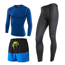 2017 Men's Sports Running 3 Piece Set Tights Shorts Pants T-shirts Sport Suit Jogging Fitness Gym Long Sleeve Compression Suits