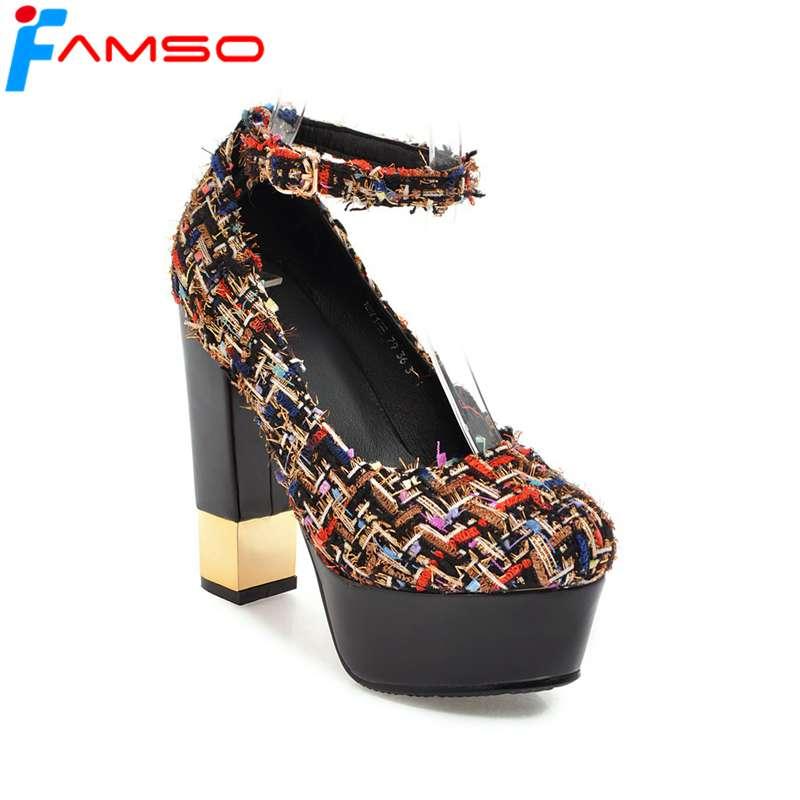 FAMSO 2018 New Arrival Women Pumps  Shoes Designer Party Shoes Patchwork gold Heels Shallow Platforms Pumps For Womens Shoes<br>