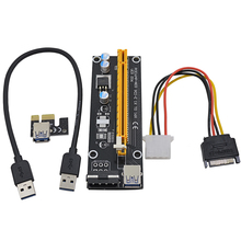 Black 0.3M PCI-E 1X to 16X Riser Card Extender PCIE PCI Express Converter + USB 3.0 Cable / SATA to 4Pin IDE Molex Power Supply