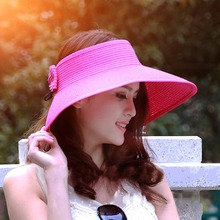 Hot Sale Summer Hats for Women Lady Foldable Roll Up Sun Beach Wide Brim Straw Visor Hat Cap(China)