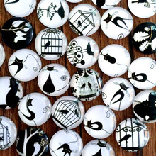 ZEROUP 25mm round glass cabochon cat and bird pictures mixed pattern fit cameo base setting flat back jewelry 20pcs/lot