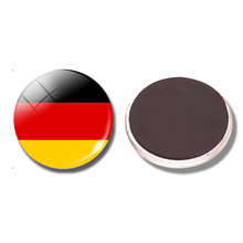 Germany National Flag 30 MM Fridge Magnet Flag of Germany Glass Dome Magnetic Refrigerator Stickers Note Holder Home Decoration(China)