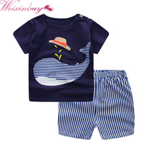 2017 Fashion Cartoon Print Clothes Sets Summer Baby Boys Girls T Shirts + Casual Striped Pants Suit 2PCs
