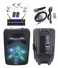 "STARAUDIO Pro Powered/Active 15"" 3500W  PA DJ Stage Speaker with USB BT FM LED RGB Light 1 Wired Mic 1 Set UHF Headset Mic"