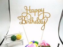 Gold Glitter Script Happy Birthday Cake Toppers Kids Birthday Party Favors Personalized Happy Birthday Cake Decorations Silver(China)