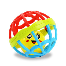 1pc smile face plastic cement soft rubber baby rattle ball teether newborn baby exercise fitness ball creative education toys
