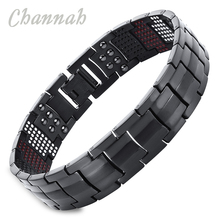 Channah 2017 Men Black Health Bracelet 4in1 Magnets Negative Ions Germanium Far Infra Red Titanium Bangle Fashion jewelry Charm