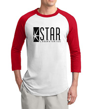 The Flash t shirt men STAR S.T.A.R labs Printed 2017 summer hot sale 3/4 sleeve t shirts 100% cotton raglan men t-shirt for fans