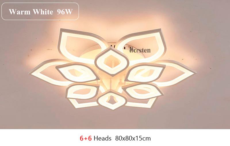 Horsten Remote Control Modern LED Ceiling Lights For Living Room Bedroom Acrylic Ceiling Lamps Flower Design Celing Lamp 90-260V (14)