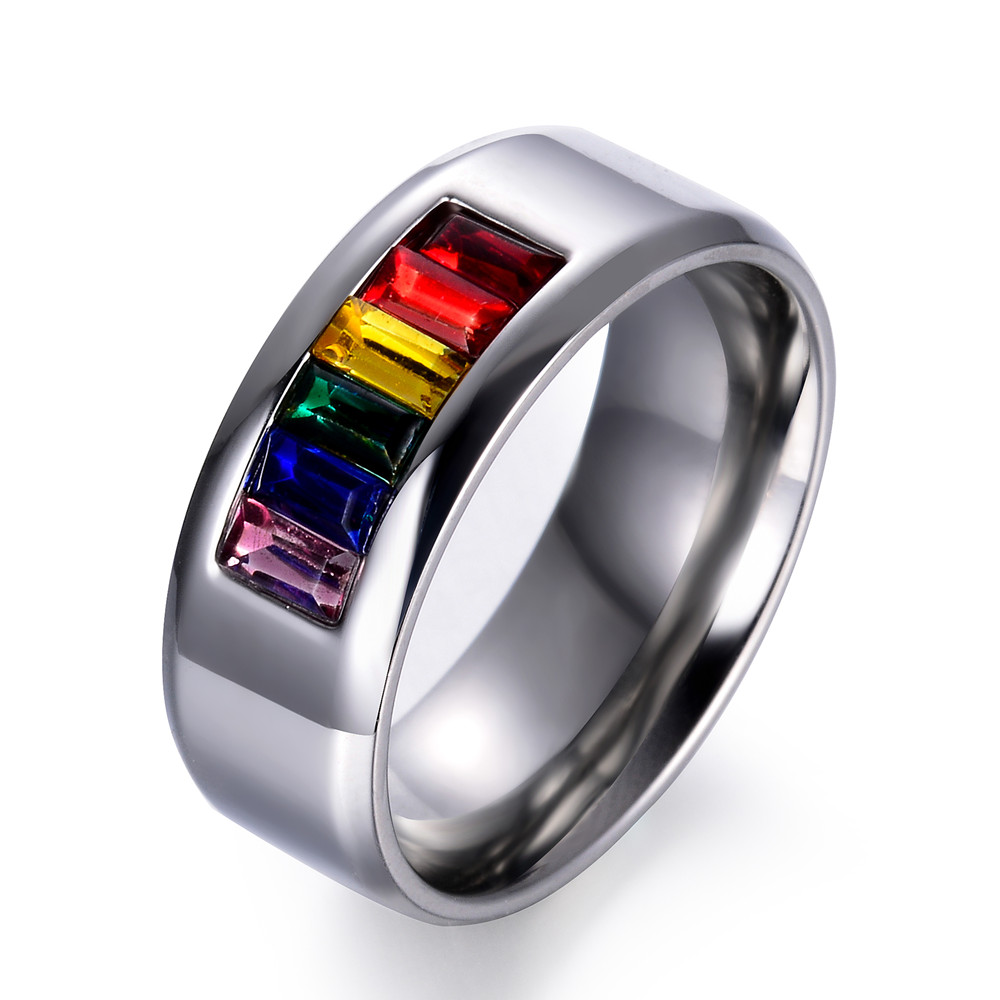 Rainbow Crystal Stainless Steel Ring