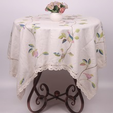 Beige Linen Blending Birds Branch Leaves Lace Tablecloth Countryside Leisure Dinning Table Covers