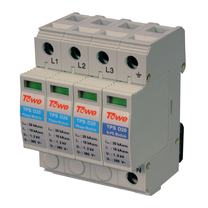 TOWE AP D20 3P+N Three-phase over voltage protector 3+1 protect mode with NPE 20kA overvoltage Thunder protector<br>
