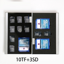 13 in 1 Aluminum Storage Box Bag Memory Card Case Holder Wallet Large Capacity For 2* CF Card 3*SD Card 10*Mirco SD