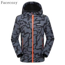 Facecozy Men's Autumn Outdoor Front Zipper Camping Softshell Jacket Breathable Hooded Thermal Fishing Coat