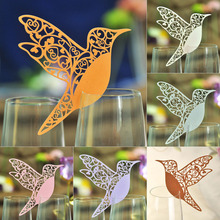10 Colos 50pcs Bird Shaped Laser Cut Table Mark Wine Glass Name Place Cards Wedding Birthday Baby Shower Party Favor Supplies(China)